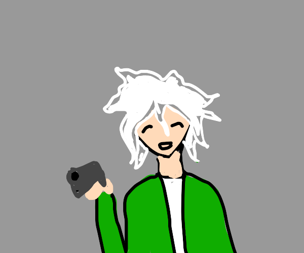 Nagito with a gun