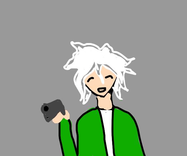 Nagito with a gun