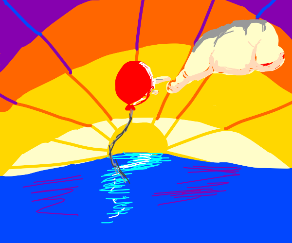 1 red balloon over the sea