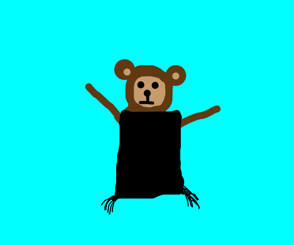 monkey with black blanket