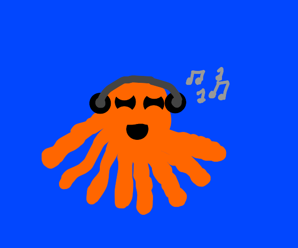 octopus with headphones jamming out