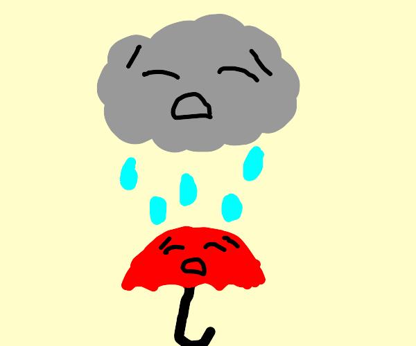 sad rain cloud hovering over sad umbrella