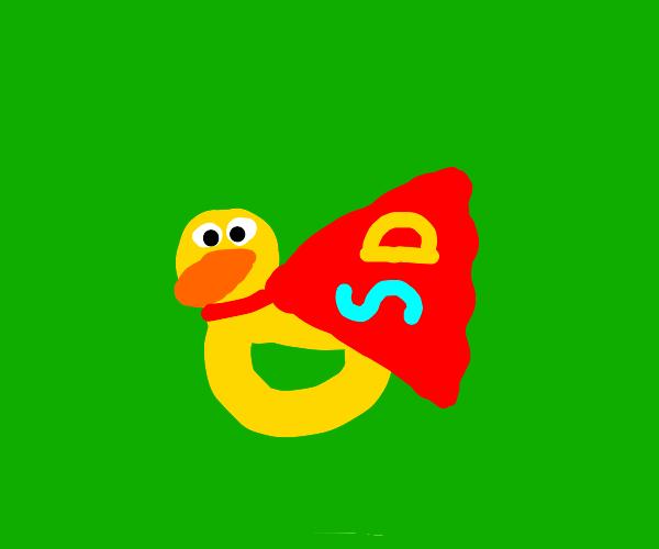 Duck with superhero cape