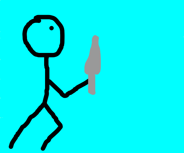Stick man with a knife