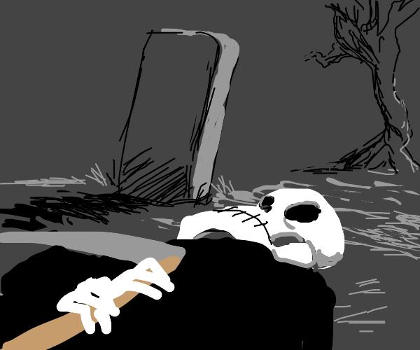 Lying down in a graveyard
