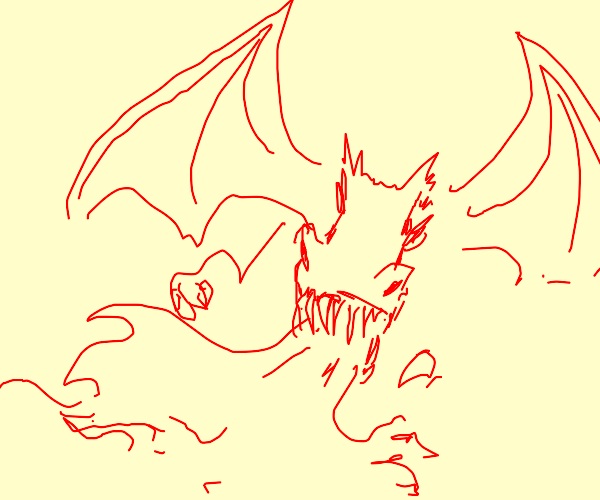 Red fire breathing dragon