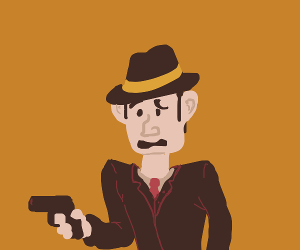 Mobster with awkward face