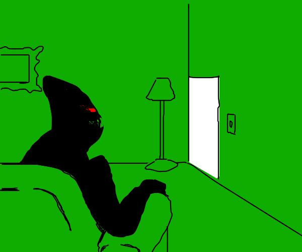 evil man in green room