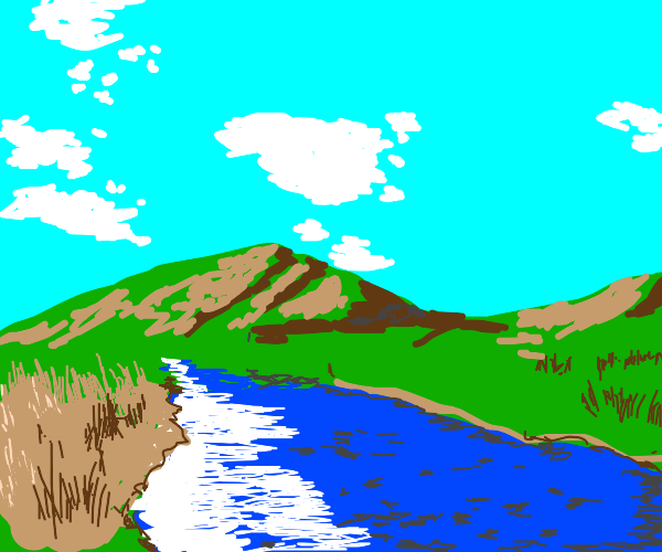 landscape of flat hills and river
