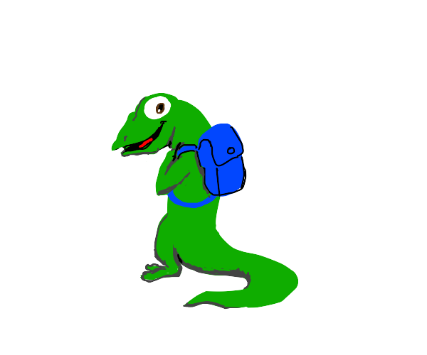 Lizard with a blue backpack