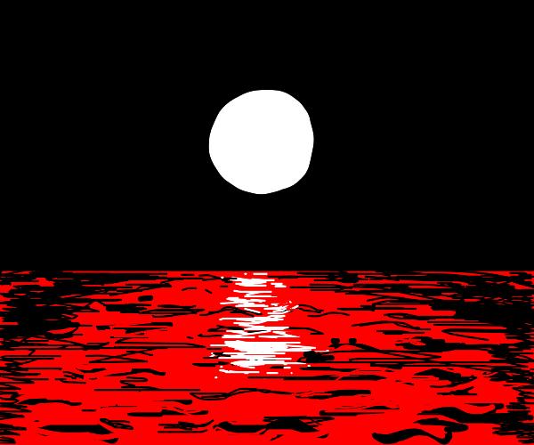 Red sea under moonlight