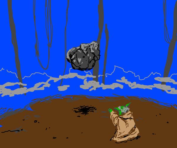 Yoda lifting rocks