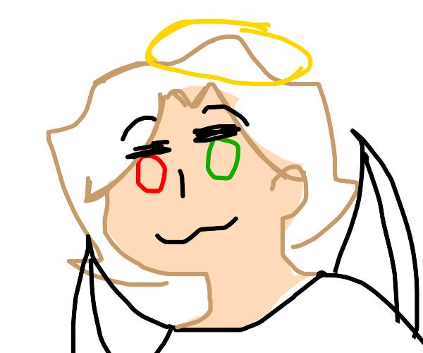 Smug angel boi with red and green eye