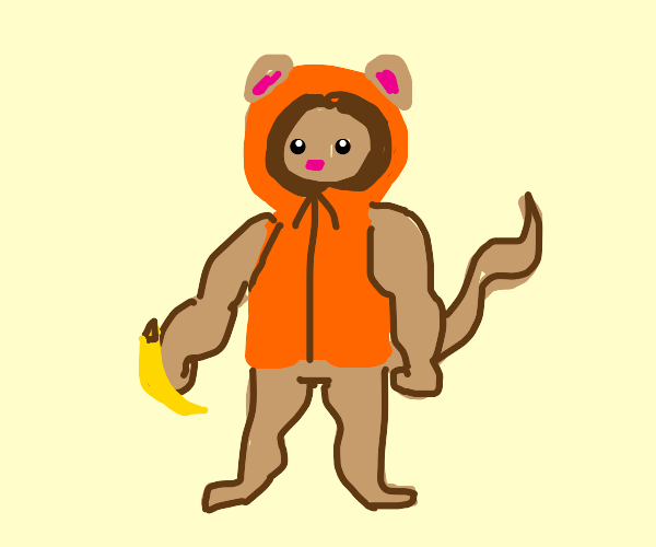 Buff monkey in winter clothes