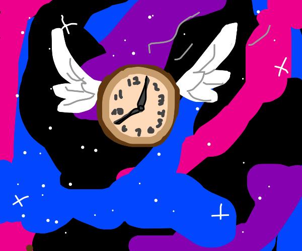 Time flies through space