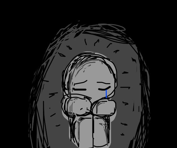 sad man creates darkness around him