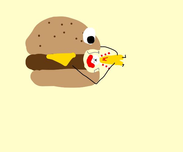 Hamburger eats Ronald McDonald