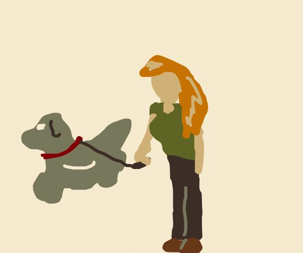 Women walking her ghost dog