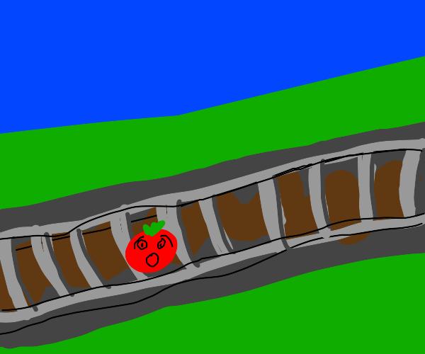 Tomato on a train track