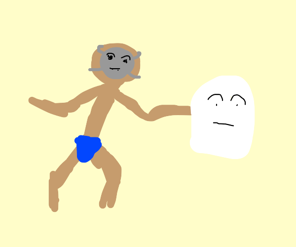 Old guy with grey mask and ghost in his hand