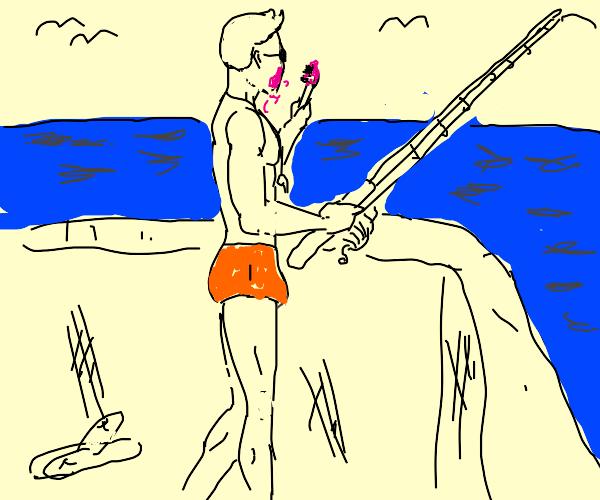 guy brushing his teeth while fishing