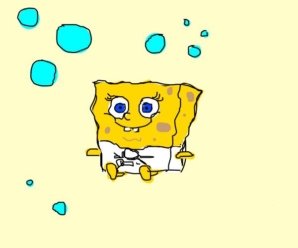 baby boy scout spongebob blows bubbles