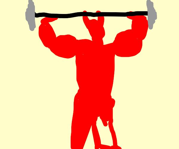 Satan hitting the gym