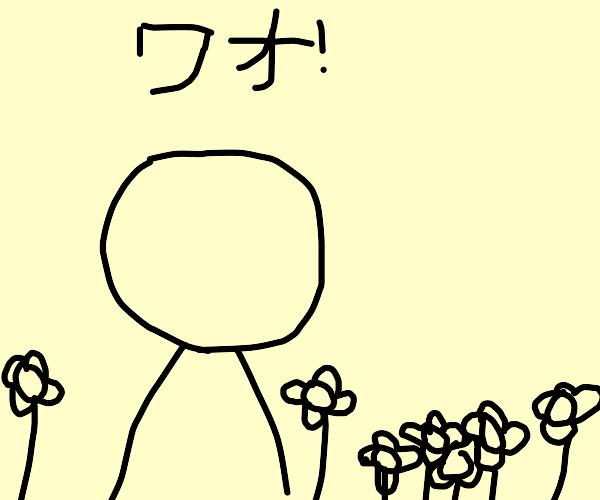 blushing faceless guy in flower valley