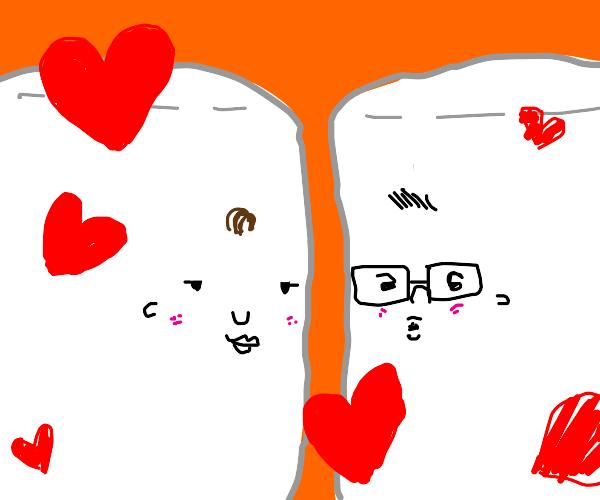 2 marshmellows on a narrow path abt two kiss