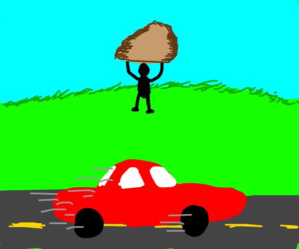 throwing rock at speeding car