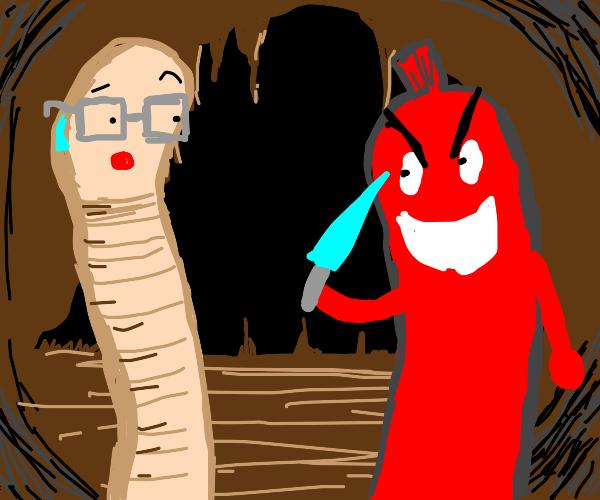 Worm man meets murderous hot dog underground