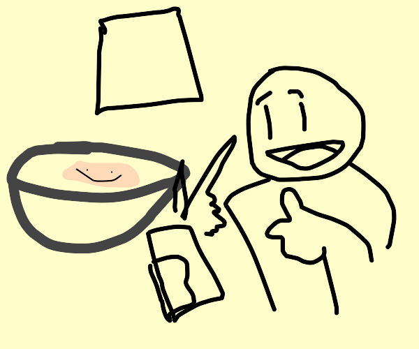 cracker in soup takes a picture with guy