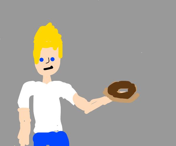 blond guy holding dounat