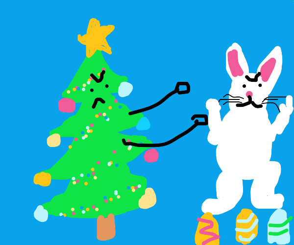Christmas tree fights the easter bunny