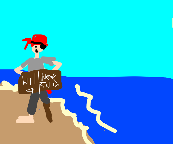 Pirate soliciting on the beach