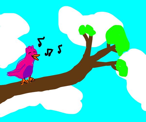 A happily singing bird
