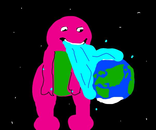 Barney barfs water on Earth