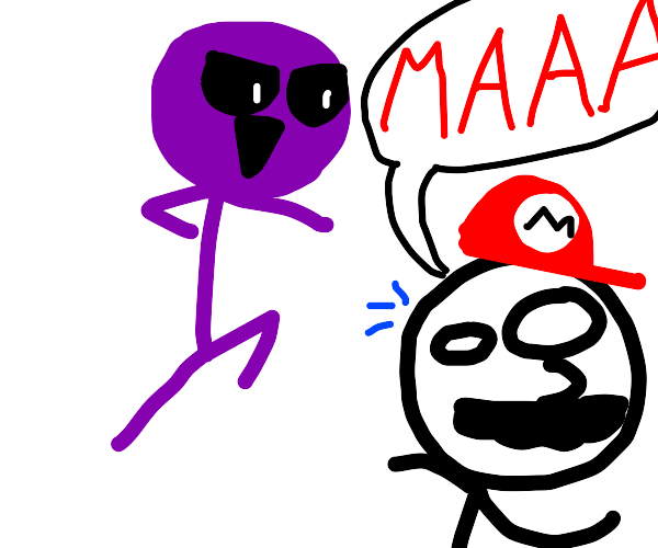 Purple guy FNAF about to kill Mario