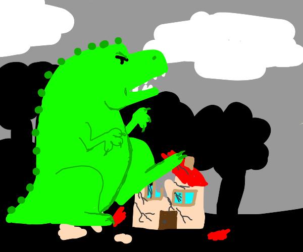 Godzilla destroys house