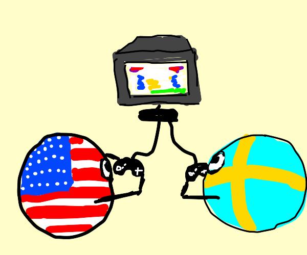 Americaball and Swedenball playing video game