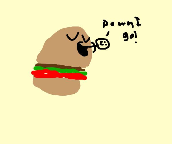 burger eats a happy man