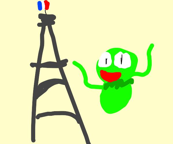 Kermit next to Eiffel Tower