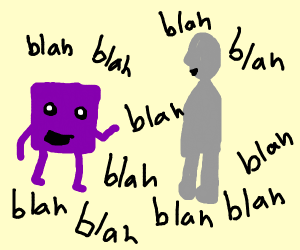a purple square talking to a gray man