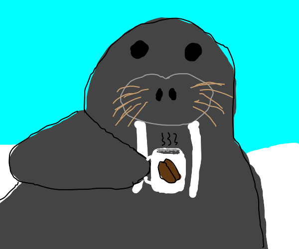 Walrus with a morning coffee