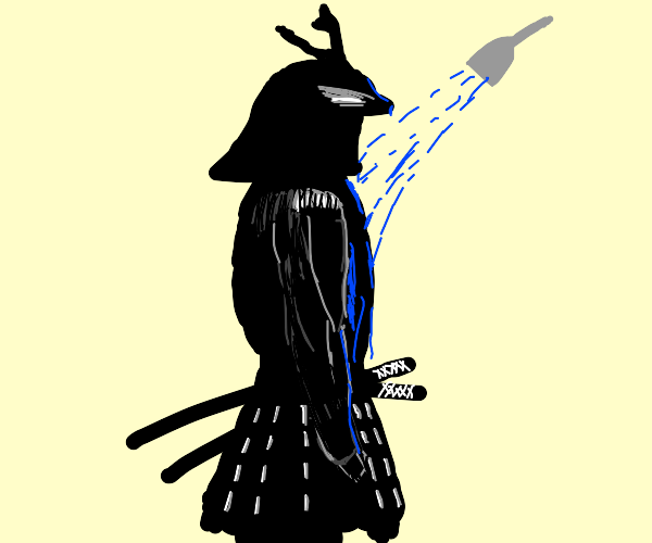 Samurai taking a shower