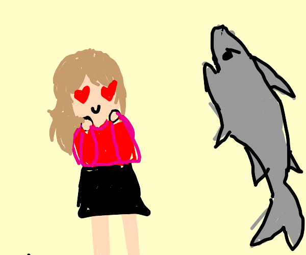 Woman is in love with a shark