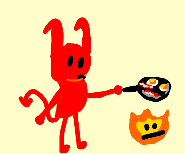 devil creature is cooking eggs and bacon