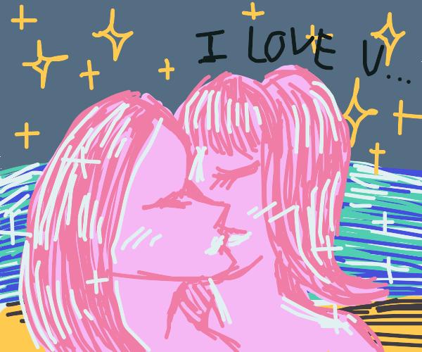 Lesbians kissing under the stars