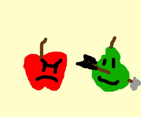 Pear gets the arrow,makes apple jealous