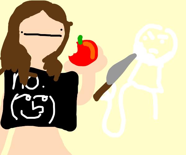 Eve eats apple. God is annoyed.